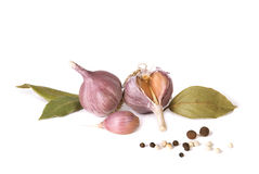 Garlic and spices. On a white background Stock Photos