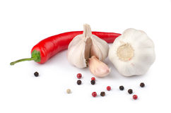 Garlic and spices. On white background Stock Image