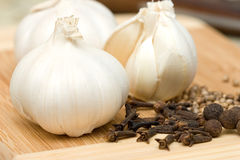 Garlic and spices Stock Photo