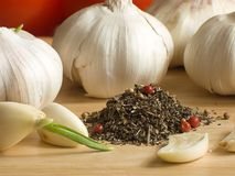 Garlic & spices Stock Image
