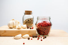 Garlic and spices Stock Photography