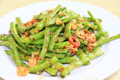 Garlic string beans. String beans cooked with garlic and minced pork royalty free stock photos