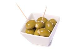 Garlic stuffed green olives Stock Photo