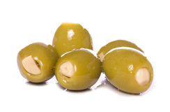 Garlic stuffed green olives cutout Stock Photos