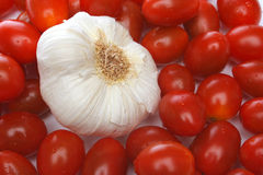 Garlic surrounded by cherry tomatoes Royalty Free Stock Images
