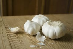 Garlic on a table Stock Photo