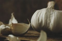 Garlic on the table Royalty Free Stock Image