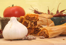Garlic and Tamales Stock Image