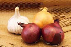 Garlic and three onions Royalty Free Stock Photography