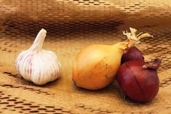 Garlic and three onions Stock Image
