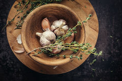Garlic and thyme Stock Photo