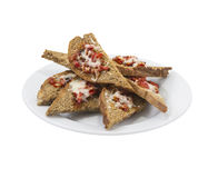 Garlic toast with hot peppers Royalty Free Stock Image
