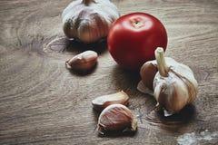 Garlic and tomato Stock Photos