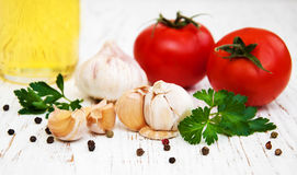 Garlic and tomato royalty free stock images