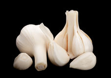 Garlic vegetable on black Stock Photo