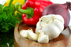 Garlic with vegetables Royalty Free Stock Photography