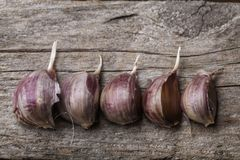Garlic on the table. Garlic on the vintage wooden table royalty free stock image