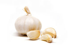 Garlic on white background. Organic garlic for spice on white color background royalty free stock photography