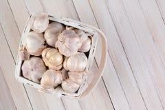 Garlic in White Basket Royalty Free Stock Photos
