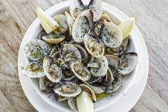 Garlic white wine steamed clams seafood tapas simple snack. Garlic white wine steamed fresh clams seafood tapas simple snack ameijoas bulhao pato portuguese Royalty Free Stock Image
