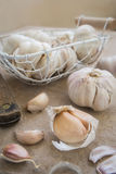 Garlic whole and cloves Stock Photo