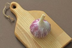 Garlic. The whole lies on the wooden background. Rustic style. Minimalism.  stock photo