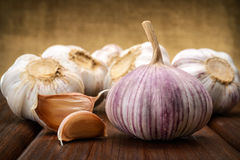 Garlic and a whole wooden table closeup Royalty Free Stock Photo