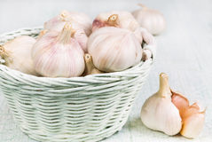 Garlic in the wicker basket Stock Image