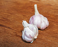 Garlic on wood background Stock Image