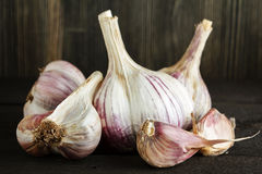 Garlic on wood Stock Photography