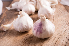 Garlic on  wooden background Royalty Free Stock Photos