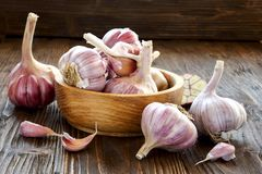 Garlic in a wooden bowl. On the kitchen table Stock Photos
