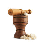 Garlic and wooden mortar Royalty Free Stock Image