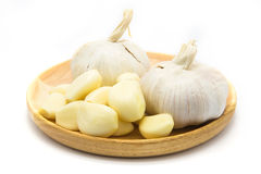 Garlic on wooden plate on white. Background Stock Photography