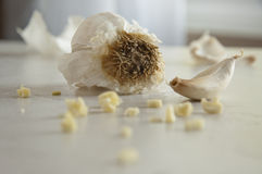 Garlic1_Food by color. Garlic in various stages from whole bunch, to clove to diced Stock Images