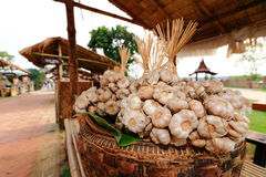 Garlics in basket. A group of garlic in basket, Thailand Stock Photos
