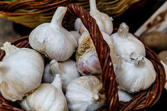 Garlics in basket Royalty Free Stock Images