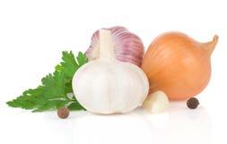 Garlics e especiaria dos ingredientes de alimento Imagem de Stock Royalty Free