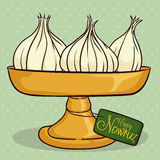 Garlics in Elevated Pan with Greeting Card for Nowruz, Vector Illustration Royalty Free Stock Photography