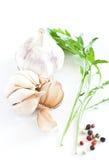 Garlics en blanco Imagen de archivo libre de regalías