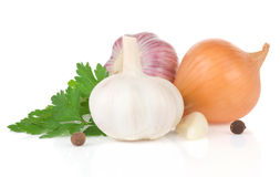 Garlics et épice d'ingrédients de nourriture Image libre de droits