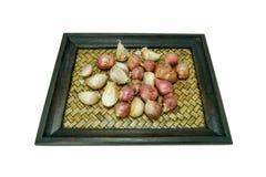 Garlics och schalottenlökar Fotografering för Bildbyråer