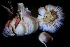 Garlics op de achtergrond Stock Afbeelding