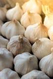 Garlics op houten raad Stock Foto's