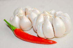 Garlics and pepper Stock Photos
