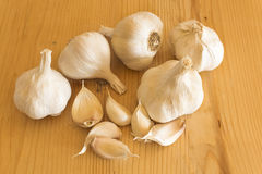 Garlics on the plank table Stock Photos
