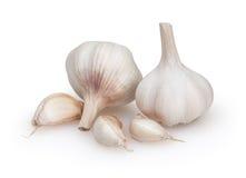 Garlics som isoleras på vit bakgrund Arkivbilder