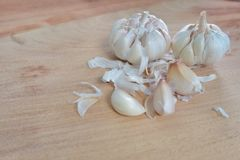 Garlics on table wood Royalty Free Stock Photography