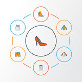 Garment Colorful Outline Icons Set. Collection Of Heels, Sweatshirt, Underwear And Other Elements. Also Includes Symbols Royalty Free Stock Photography