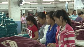 Garment Factory: Garment workers sorting finished pieces stock video footage